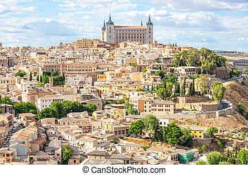Toledo cityscape Spain - Toledo Cityscape with Alcazar in...