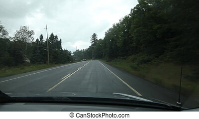 Rainy drive in Muskoka county.