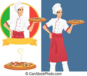Italian tasty pizza and man chef - Chef offers to clients...