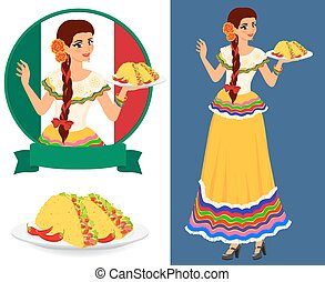 Mexican girl with taco - Young pretty waitress serves plates...