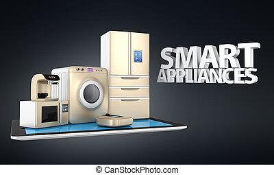 Smart kitchen appliances concept - Concept of smart kitchen...