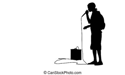 Silhouette of the guy beatbox with a microphone. White...