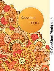 Abstract asian ethnic floral retro doodle background pattern...