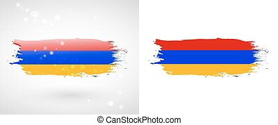 Armenian flag. Independence Day. Flag painted with a brush...