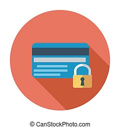 Credit card protection concept. Single flat color icon....