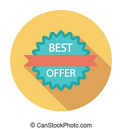 Best Offer Single flat color icon Vector illustration