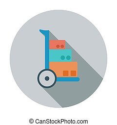 Hand Truck. Single flat color icon. Vector illustration.