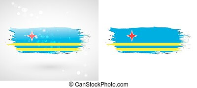 Flag of Aruba Independence Day Flag painted with a brush...