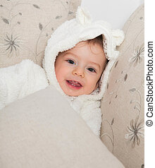 1 year old baby boy - Portrait of a 1 year old baby boy at...