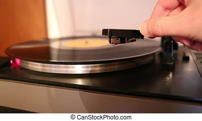 gramophone - Video with running old gramophone turntable...