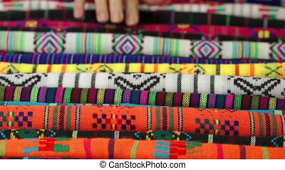 Woman Traditional Mexican Fabrics - Close up shot of an...