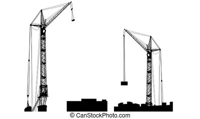 Silhouette of two cranes working on the building White...