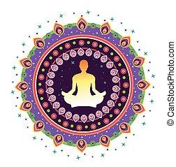 Yoga Icon - round circle icon for yoga lotus sitting posture...