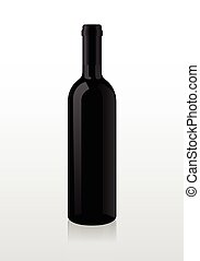 Bottle of wine, blank harvesting, without stickers. Vector.