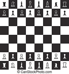 chessboard with black and white chess pieces eps10