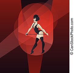 Art Deco poster design cabaret burlesque dancer - Poster...