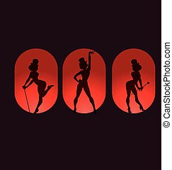 poster design with silhouette cabaret burlesque - Poster...