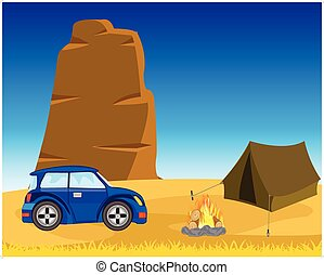 Tent with car in desert - Vector illustration of the wild...