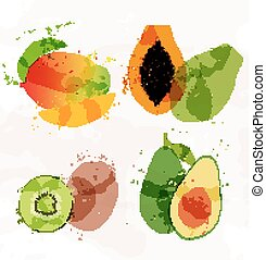 Set of colorful fresh fruit stains