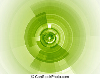 Lime green digital focus - Radial digital composition with...