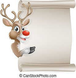 Cartoon reindeer scroll sign of Christmas reindeer pointing...