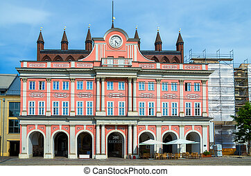 Town Hall Rostock, Germany - View of Town Hall Rathaus at...