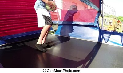 Jumping gym trampoline bouncy - Kids jumping and playing in...