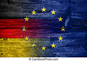 Germany and European Union Flag painted on old wood plank...