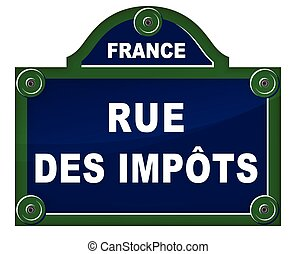 taxes street sign - French translation of taxes street blue...