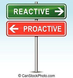 reaktywny, i, proactive, kierunki, znak,