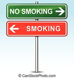 smoking and no smoking directions sign - illustration of...