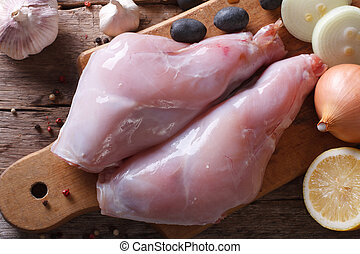 Raw fresh rabbit meat horizontal view from above - Raw fresh...