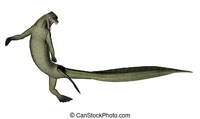 Mesosaurus, Dinosaurio, -, 3D, render,