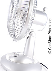 Silver Electric Fan on White Background