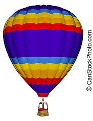 Hot air balloon - 3D render - Colorful hot air balloon...