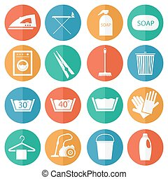 Laundry and cleaning icons - Laundry And Cleaning Icons Set...