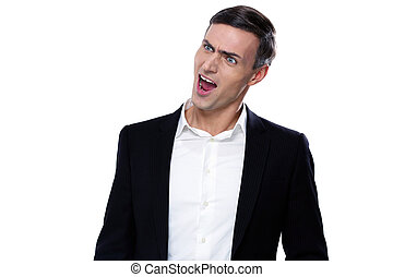 Portrait of a funny young businessman with mouth open