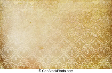 Old grunge paper texture and vintage floral ornament. - Old...