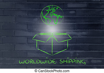 world coming out of a box, concept of worldwide shipping -...