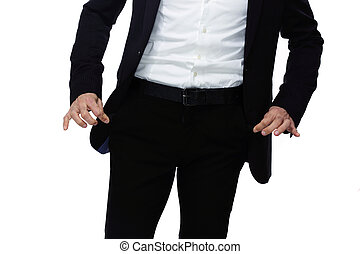 Businessman showing his empty pockets