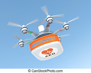 Drone carrying AED medical kit for emergency medical care...