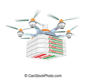 Drone carrying pizza package - Drone carrying pizza for fast...