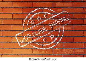 round stamp logo with worldwide shipping - logo for an...