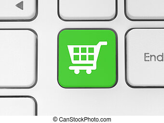 Shopping cart icon on green button - Shopping cart icon on...