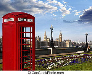 English red telephone boxes with Big Ben in London, UK -...
