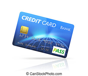 Blue Credit card isolated on white