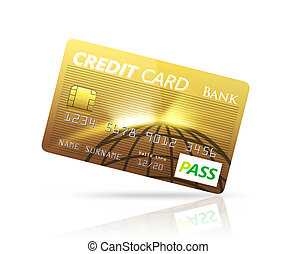 Gold Credit card isolated on white