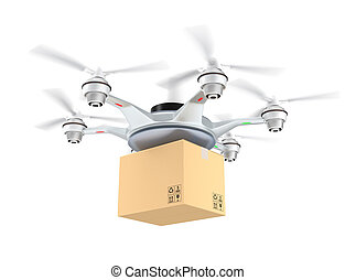 Drone delivery cardboard package on white background.