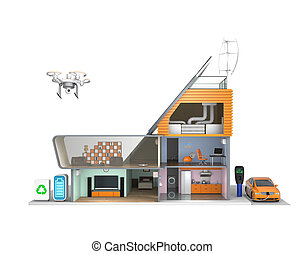 Smart house concept - Smart house with energy efficient...