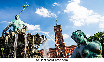town hall berlin - neptunbrunnen and town hall berlin on a...